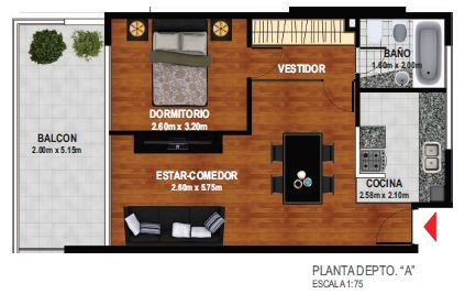 1 dormitorio con Balcon